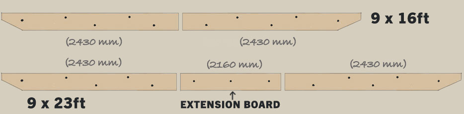 A diagram of the ledger boards required to mount a 9ft x 16ft pergola or a 9ft x 23ft pergola to a wall